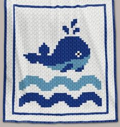 Crochet Pattern | Baby Blanket / Afghan - C2C - Whale - Row-by-Row Instructions + Chart