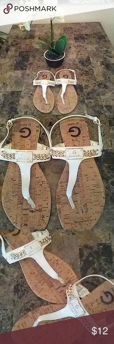 WHITE GUESS SANDALS JEMMA T-STRAP GUESS SANDAL Guess Shoes Sandals