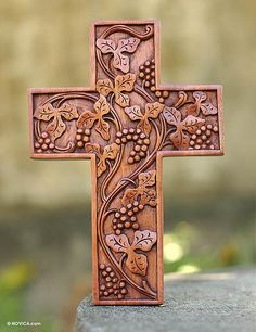 Mahogany cross, 'Parable of the Vine' by NOVICA