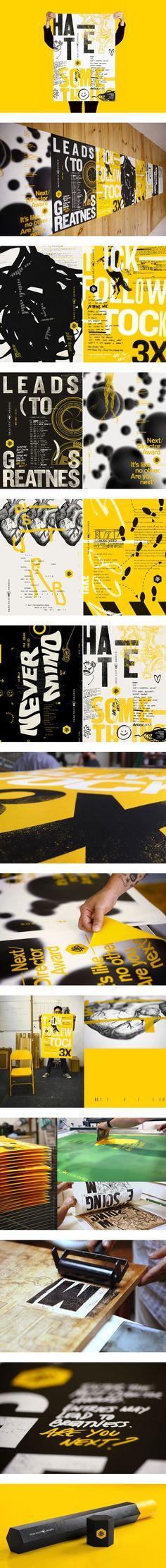 D&AD NEXT AWARDS - Rodrigo Castellari This reminds me of that mid nineties Carson / ray gun stuff Mais Type Posters, Graphic Design Posters, Graphic Design Typography, Graphic Design Illustration, Graphic Design Inspiration, Branding Design, Graphisches Design, Book Design, Layout Design