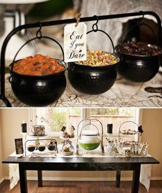 {Creepy} Witches Brew Halloween Party - love the dips in the little cauldrons party food drink ideas Eat if you dare. Jessica Wilcox of Modern Moments Designs concocted this {Creepy} Witches Brew Halloween Party with a timeless Diy Festa Halloween, Spooky Halloween, Halloween Tisch, Diy Halloween Dekoration, Adornos Halloween, Halloween Dinner, Halloween Food For Party, Halloween Birthday, Halloween Party Decor