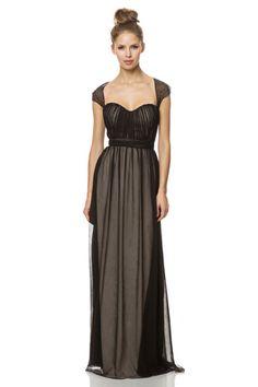 2015 Zipper Up Straps Chiffon Cap Sleeves Floor Length Bridesmaid / Prom Dresses By bari jay 1454