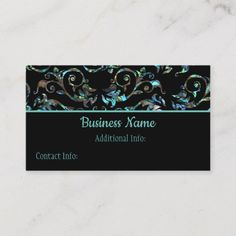 Shop Turquoise & Black Pearl Floral Business Card created by BlueRose_Design. Business Names, Business Card Design, Things To Come, Turquoise, Pearls, Floral, Prints, How To Make, Color
