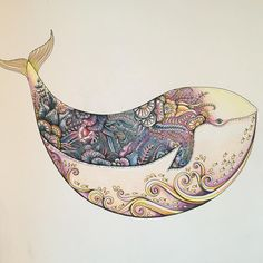 """One of my favourites from #johannabasford .. The #lostocean #whale :) #lostocean #johannabasfordlostocean #jardimsecreto #oceanoperdido #colour #coloring…"""