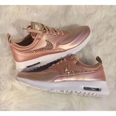 Limited Nike Air Max Thea Se With Swarovski Crystals Metallic Rose... ($179) ❤ liked on Polyvore featuring shoes, athletic shoes, grey, sneakers & athletic shoes, women's shoes, rose gold shoes, gray shoes, white shoes, grey shoes and polish shoes