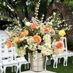 yellowceremony flowers | orange wedding ceremony decor