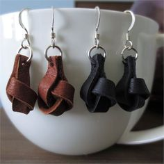 Leather Earrings…Knotted Leather Earrings/Boho Chic/Dangle Earrings/Leather and Sterling Silver Earrings//Leather Jewelry//Modern Earrings - Schmuck herstellen Diy Leather Earrings, Diy Earrings, Leather Jewelry, Leather Craft, Button Earrings, Handmade Leather, Hoop Earrings, I Love Jewelry, Jewelry Design