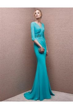 d9d37c0789 Mermaid V Neck Turquoise Chiffon Ruched Evening Dress With Sleeves. Sarah  Benitez · Modest Formal Dresses · Sheath V Neck Cowl Back Long Sleeve Red  ...