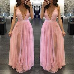 Pink V-Neck Prom Dress,Cheap evening dress,Long Evening Dress,Prom