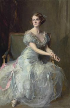Portrait of Lady Illingworth : Philip Alexius de László 1934 Visit the-athenaeum.org  I love the splash of pink with the ribbon