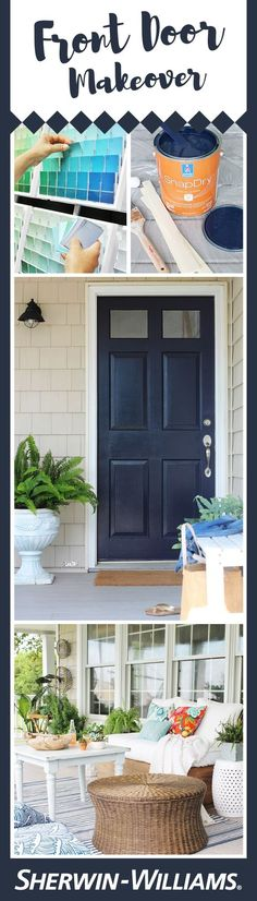 Create a lasting first impression with a front door that dazzles. Many homeowners underestimate the impact an outstanding front door can have on the overall look of their home. From drab to fab, this front door in Anchors Aweigh SW 9179 creates interest against the home's neutral exterior. Discover how you can how achieve the perfect front door makeover, from finding color inspiration to selecting durable paints to grabbing your brush and going for it.