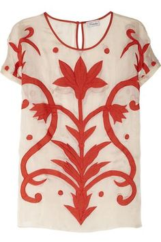 Temperley London | Francine appliquéd silk and cotton-blend top