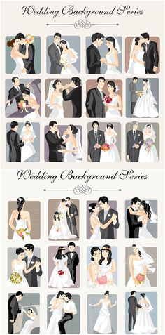 Bride and groom wedding illustrations vector