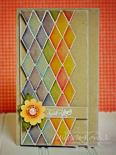 This pretty card uses JustRite's Pattern Basics stamp set designed by Samantha Walker.  It was colored using Tim Holtz's Distress Markers.