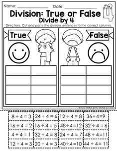 Division: True or False Fact Families, Multiplication Facts, Cut And Paste, Addition And Subtraction, Teacher Newsletter, Division, Sentences, Student, Teaching