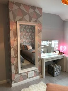 Modern grey, blush and rose gold teen room makeover for Make A Wish UK Bedroom Wall Designs, Room Ideas Bedroom, Bedroom Decor, Bedroom Apartment, Cute Room Decor, Gold Room Decor, Aesthetic Room Decor, House Rooms, Room Inspiration