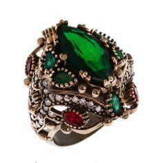 Sterling Silver Ring , Silver Ring , The Zerbap Abella with Zircon, Emerald, Ruby Stone , Emerald Ring , Ruby Ring , Zircon Ring by Rosestyle on Etsy