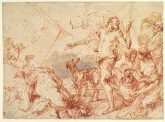 Giovanni Benedetto Castiglione (Il Grechetto) (1609–1664), Noah Entering the Ark,  1609–64, Brush with red and brown oil paint | The Metropolitan Museum of Art