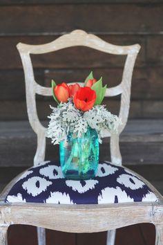red tulips & blue mason jars