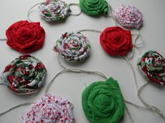 Flower Rosette Christmas Garland Wall by sewwhimsycreations