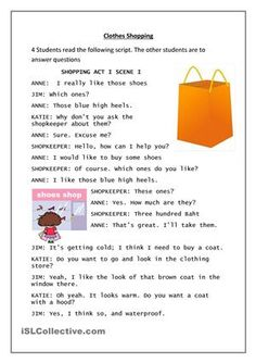 3 role plays about clothes shoppingCan be edited - ESL worksheets