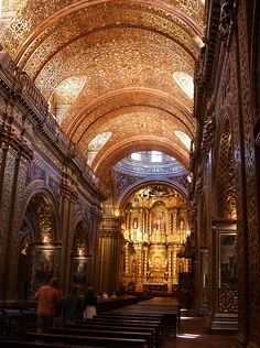 A viewof the fantastic ceiling decorations of La Compañia, a monumental structure in Quito Ecuador, in Spanish America