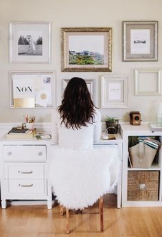 White home office space