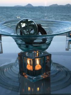 Love this bowl on my coffee table and beautiful ocean view out to the heads!