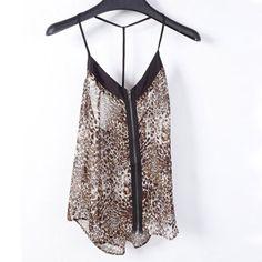 Womens Leopard Print Spaghetti Strap Chiffon Vest
