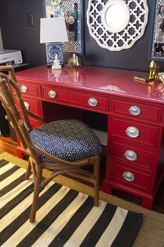 A striped rug anchors a red desk with a bamboo chair in a home office. Repurposed Furniture, Painted Furniture, Furniture Makeover, Home Furniture, Furniture Ideas, Bedroom Furniture, Red Desk, Ideas Prácticas, Decor Ideas