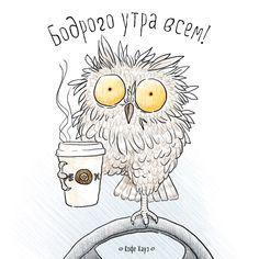 Всем бодрости! Особенно за рулем и в пробках. #утро  #кофе #сова #owl  #coffee