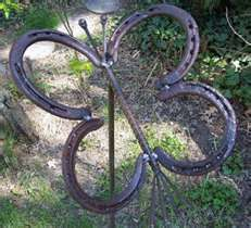 Ranch Art:  Butterfly made of old horseshoes