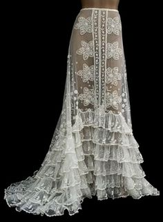 Beautiful long antique lace skirt, from Mary Quite Contrary blog