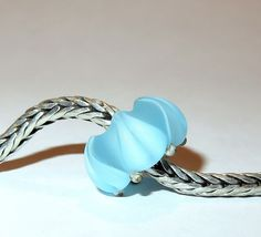 Luccicare Lampwork Bead - Frosted Ice Lotus -  Lined with Sterling Silver by Luccicare on Etsy