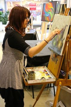 Painting during one of my art shows