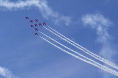 RAF Red Arrows in BAE Hawk T1 trainers Farnborough International Airshow Farnborough Airport Rushmoor Hampshire England  www.alamy.com/image-details-popup.asp?ARef=FC322G  #raf #red #team #jet #airplane #air #plane #display #aviation #airshow #force #hawk #arrows #flight #aerobatic #formation #sky #smoke #aircraft #royal #show #teamwork #military #flying #speed #fast #stunt #british #pilot #wing
