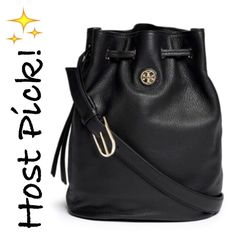 "✨NWT✨ Tory Burch Brody Bucket Black Leather Bag NWT! Authentic Tory Burch Brody bucket bag in black leather. Drawstring closure. Can be worn over the shoulder or as a crossbody bag. This is large Brody bag(11.3""x5.7""x8.3""). Exterior has a zip pocket and interior has a zip pocket. Dust bag included. ***NO TRADES*** Tory Burch Bags Crossbody Bags"