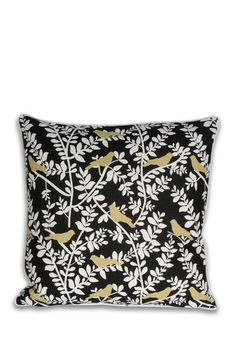 """Clarabelle Birds Natural Faux Linen Pillow - Feather Fill - Multi - 20"""" x 20"""" by Pillows for Every Style on @HauteLook"""