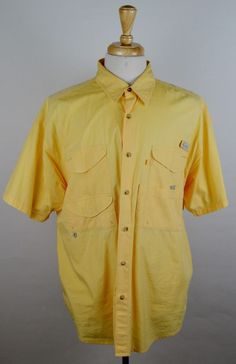 Columbia PFG Men's Large Solid Yellow Vented Short Sleeve Button Fishing Shirt #Columbia #ButtonFront