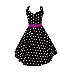 "Folksy :: Buy ""1950's style Polka Dot Black and White Dress"" found on Polyvore"