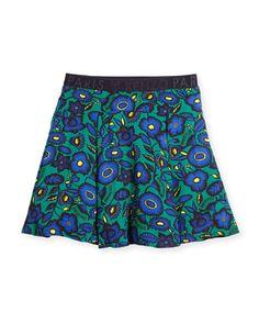 Z1RKR Kenzo Pleated Floral Poplin Skirt, Green, Size 8-12