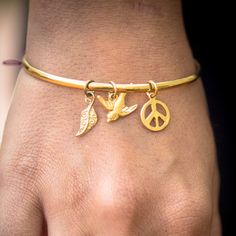 Gold bangle with charms by PanachebyAmanda on Etsy, $30.00