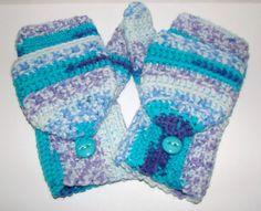 Convertible Fingerless Mittens in Seascape by CreativeEndeavorsKS, $30.00