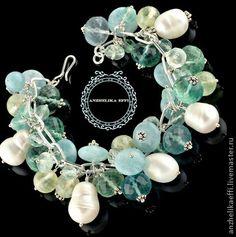 Прохладный браслет. Серебряные браслеты из натуральных камней. Натуральный Жемчуг (крупный) Природные Камни : Пренит - Флюорит - Аквамарин