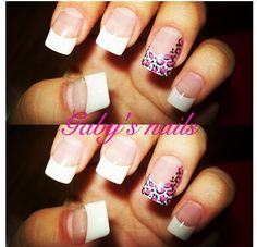 Gaby's nails! White tips with pink cheetah accent!