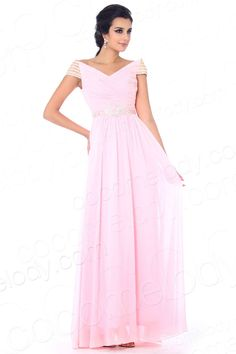 Romantic A Line V Neck Floor Length Chiffon Pink Evening Dress COSF1300C $129.00 evening dress, evening dress, evening dress, evening dress, evening dress, evening dress