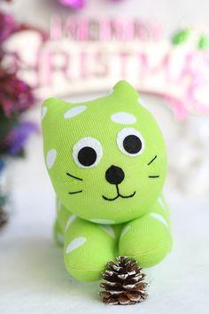 Handmade  plush  Sock  Cat   stuffed  animal  dolls   Soft  Toys  Cat  Trendy  Kitties  sock  toys  baby  Home Decor    soft doll