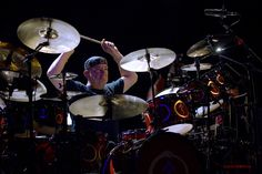 Drumkit for RUSH: small Canadian rock band - Members = bass, keyboard, & lead vocals by  Geddy Lee; guitarist Alex Lifeson; and drummer and lyricist Neil Peart - Yes: Drumkit designer! Rush formed in summer 1968 in Toronto, Ontario, by Lifeson, Jeff Jones, & John Rutsey. Geddy Lee replaced Jones that  September. Eventually Neil Peart replaced Rutsey on drums in July 1974, 2 weeks before first U.S. tour. https://www.pinterest.com/claxtonw/drummer-drumming/ - PHOTO CREDIT: Jazminmillion on…