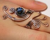 Wire Wrapped Ring-copper ring-adjustable wire wrapped copper ring with navy blue crystal stone-wire wrapped jewelry handmade-copper jewelry