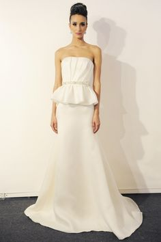 Eve of Miladay - Spring Bridal 2014  TAGS:Embellished, Floor-length, Pleats, Strapless, Train, White, Eve of Milady, Diamante, Pearls, Satin, Silk